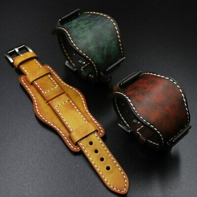 $21.67 • Buy 20mm 22mm 24mm Men Genuine Leather Cuff Watch Band Strap With Mat For Fossil