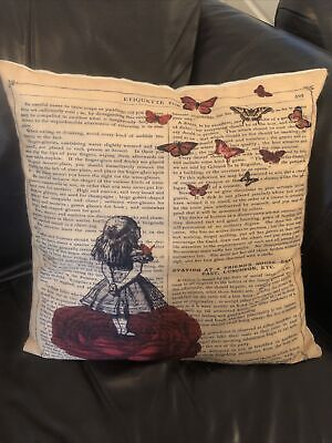 Alice In Wonderland Vintage Print Style Cushion Cover  • 4£