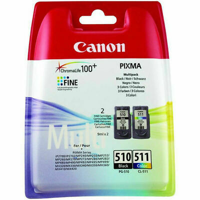 Genuine Canon 510, 511, Multipack Ink Cartridges, Canon PG-510, CL-511, 2970B010 • 27.99£
