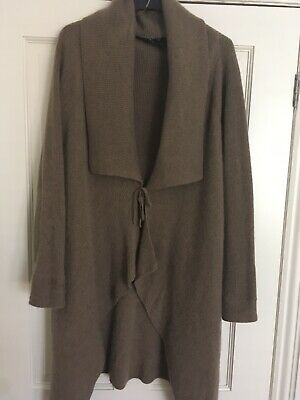 Marks & Spencer 100 Percent Cashmere Long Waterfall Cardigan Jacket 12 Brown • 4.20£