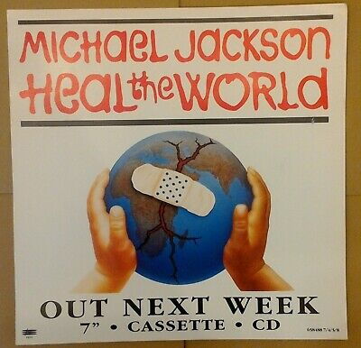 Michael Jackson - Heal The World - 1991 Pre Release Epic 7  Cassette CD Poster  • 0.99£