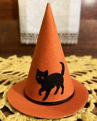 $ CDN122.08 • Buy MINT RARE Vintage Halloween Witch's Hat Candy Container With Cat Diecut, Germany