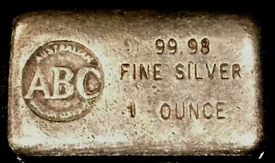 ABC AUSTRALIAN BULLION CO Vintage 1 Oz Silver Ingot Bar -- LEFT HALLMARK!  Rare! • 139.48£