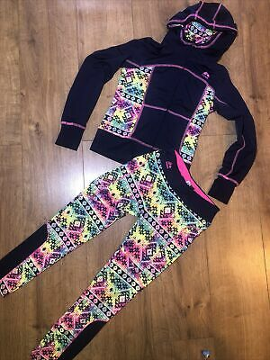 Reebok Leggings And Hoodie Set Rainbow Navy Size 7-8 Years • 6£