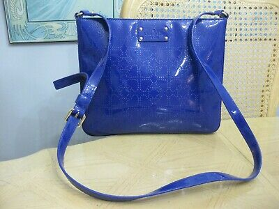 $ CDN29.99 • Buy Royal Blue Signature Kate Spade Patent Leather Crossbody Handbag Purse