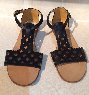 Gallucci Italian Black Leather Flat Sandals - Size 6 Worn Once • 15£