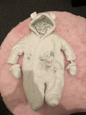 Disney Baby Dumbo Boy Girl 0-3 Months Snowsuit/ Pramsuit Super Soft With Mits • 2£