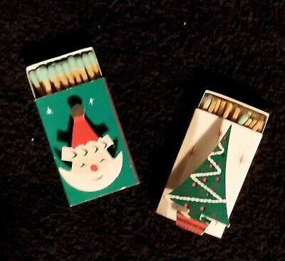 $ CDN7.51 • Buy Fabulous Pair Of Vintage Santa Claus & Christmas Tree Match Boxes - Japan