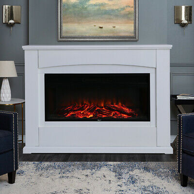 Electric Fireplace 34'' LED Fire Flame Heater Surround Log Burning Living Room  • 294.95£