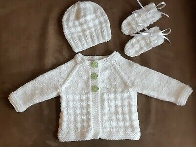 Hand Knitted Baby Cardigan, Hat And Mittens Set, White, Age 0-3 Months. • 9.99£
