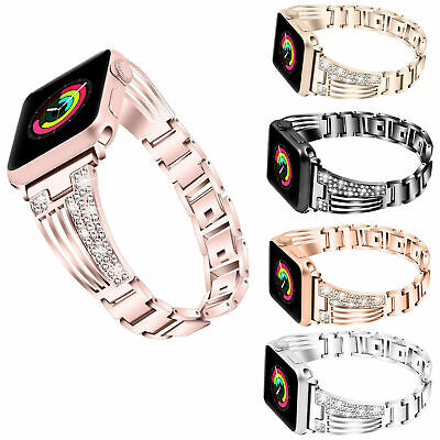 AU16.99 • Buy For Apple Watch Series 6 5 4 3 2 SE Bling Stainless Steel IWatch Band Strap