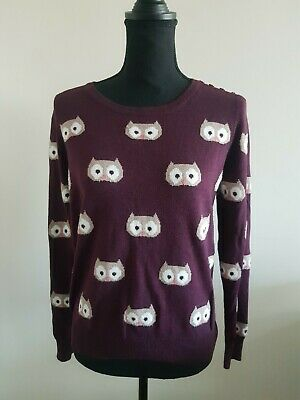 Womens Jumper Size 14 Purple TU Owl Print  <EE5399 • 5.99£