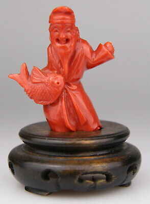 Antique Chinese Carved Red Coral Statue Buddha Figure Wood Stand 19th Qing • 9.94£