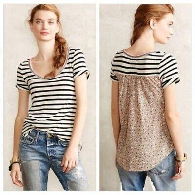 $ CDN44.17 • Buy Anthropologie Akemi + Kin Tipperary Hilo Striped Floral Mixed Media Tee - Small