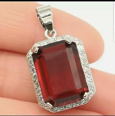 AU22.40 • Buy Unwanted,Christmas Gift 925Silver Red Garnet Pendant Beautiful Gift For Her