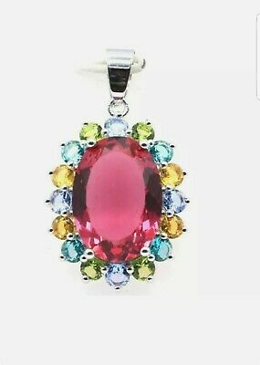 AU28.03 • Buy Unwanted,Christmas Gift 925Silver Big Oval Multicoloured Pendant Free Chain