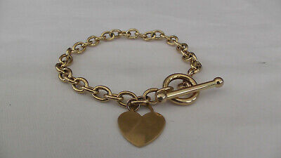 9ct Gold Bracelet With Heart And T. Bar, Hallmarked 375 Yellow Gold  • 225£