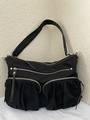 AU98.30 • Buy Mz Wallace Moto Hayley Bedford Black Nylon Leather Trim Hobo Shoulder Handbag
