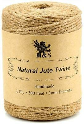H&S Jute Twine String 600Ft 6ply 3mm Thick Strong Natural Rope Roll Garden Use • 8.58£