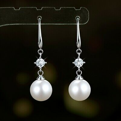 AU9.80 • Buy Elegant 12mm Pearl Drop Dangle Hook Earrings  Sterling Silver Simple Style