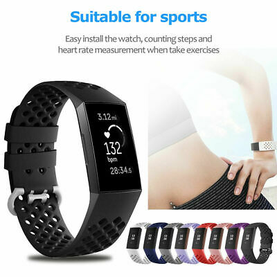$ CDN3.76 • Buy Breathable Silicone Sports Watch Band Soft Strap Bracelet For Fitbit Charge 3 4