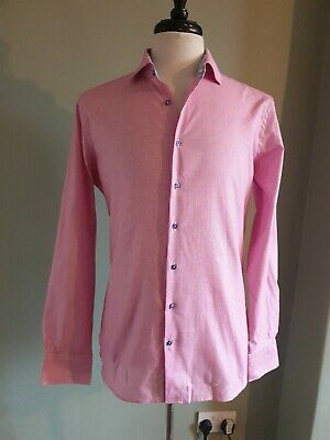 Giordano Tailored Shirt. Modern Fit. Pink, Floral Accents. Medium 39/40 • 4.99£