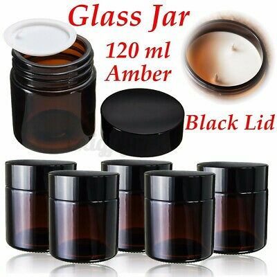 30~120ml Amber Glass Jars Bottles With Black Lids For Cosmetic Makeup Storage • 12.09£