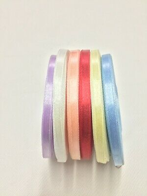 32 Meters Full Reel Satin Ribbon Roll 6mm Single Sided 6 COLOURS • 2.49£