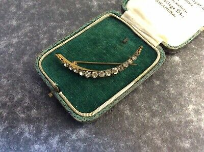 Gorgeous Vintage Edwardian Diamanté Crescent Moon Brooch Pin A104 • 18£