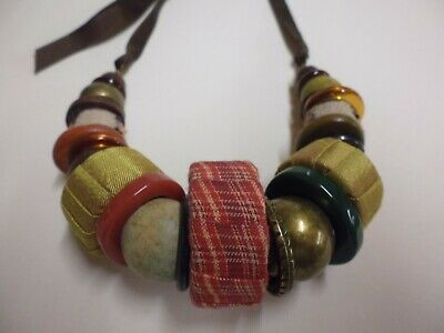 Vintage Large Wood Fabric Bead Necklace On Brown Ribbon African Influenced • 6.99£