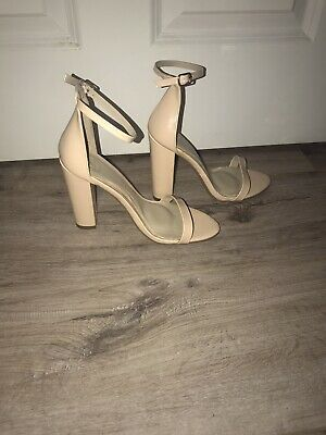 Missguided Barely There Nude Patent Block Heel Shoe Size 5 • 2£