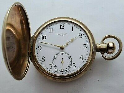 Antique 1903 The Angus 7 Jewels Hunter  Gold Plated  16s  Pocket Watch   Rare • 155£