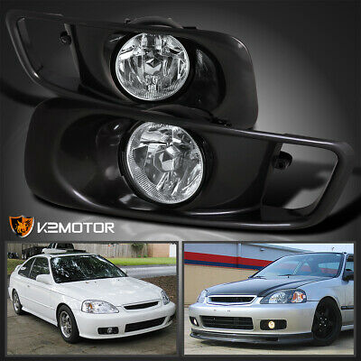 $44.38 • Buy For 1999-2000 Honda Civic Si Clear Driving Fog Lights Bumper Lamps+Switch L+R