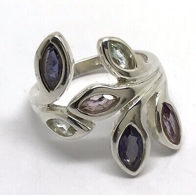 Amethyst, Iolite, Blue Topaz Ring, Solid Sterling Silver, Marquise, Chunky. UK S • 59.99£