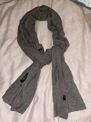 ALL SAINTS Brown Taupe LALASA Scarf Cashmere Angora Wool Lambswool Blend Poppers • 24£