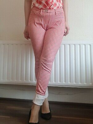 Uniqlo Red Check Trousers 50s Rockabilly - Size 8 XS - EXCELLENT CONDITION!  • 6.50£