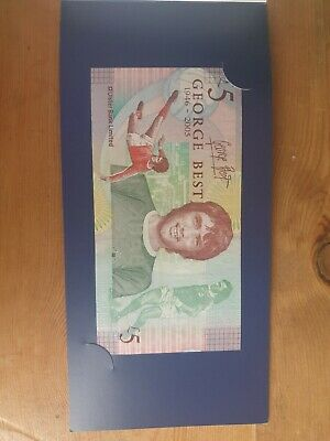 UNCIRCULATED Commemorative £5 GEORGE BEST FIVE POUND NOTE WITH ORIGINAL WALLET  • 9.99£