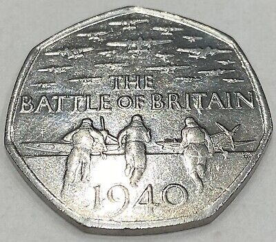 Very Rare 2015 , 50 Pence Coin The Battle Of Britain 1940 • 2,200£