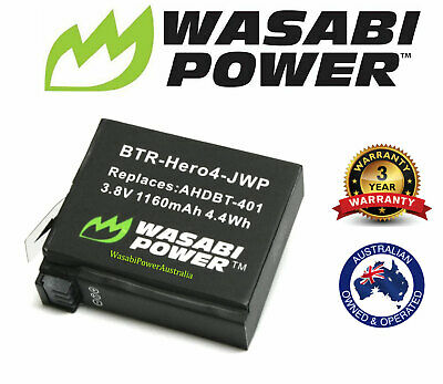 AU17.95 • Buy Wasabi Power Replacement Battery (1160mAh) For GoPro HERO4 And GoPro AHDBT-401