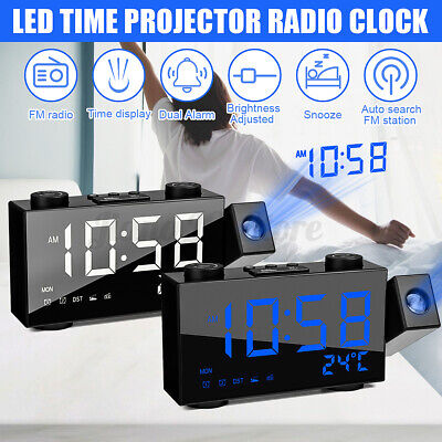 AU30.79 • Buy LED Digital Dual Alarm Clock FM Radio Projection Projector Time Date Bedside USB