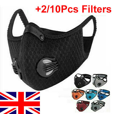 Face Mask Washable Reusable Anti Pollution PM2.5 One/two Air Vent With Filter UK • 8.99£