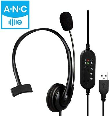 Wired Computer Headset With Microphone/Fit Call Center Office Skype Google Voice • 15.35£