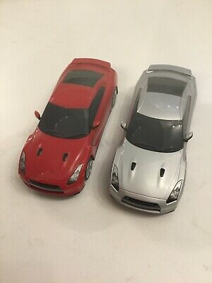 2 Hornby Nissan R35 GTR Scalextric Cars Red Silver  (360 Degree) • 9.99£