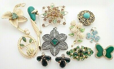 $ CDN88.30 • Buy Vintage Lot Of Rhinestone Jewelry Filigree Necklace Pendants Brooches Pins