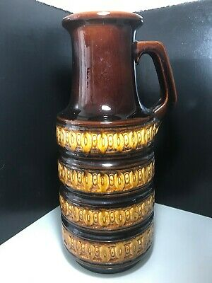 West German Scheurich Keramik Mustard & Brown Handled Tundra Floor Vase 429-45 • 24.99£