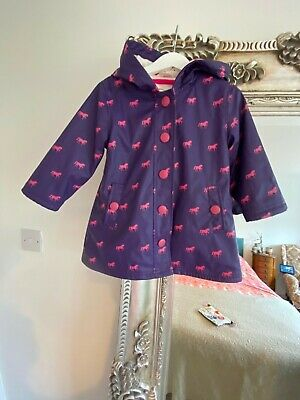 Hatley Raincoat Hooded Age 2-3 In Purple With Pink Horse Print Used • 5£