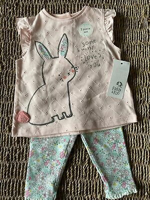 Baby Girls 3/6 Easter Bunny Rabbit Outfit - Pink Flowers Top/Bottom F&F BNWT • 4£