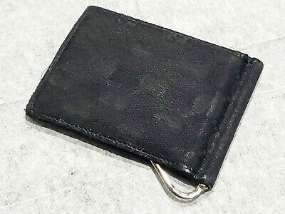 $2.25 • Buy Vintage Gucci Men's Black Canvas Bifold Wallet With Money Clip And Cardholders