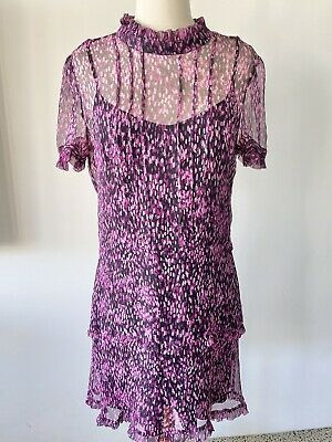 AU99.95 • Buy ALICE McCALL Sz 12 Pure Silk Graphic Print Sheer Ruffle Cocktail Dress, As New
