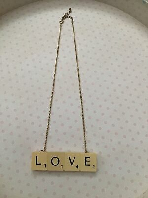 £12.99 • Buy Scrabble Letter Love Necklace On Gold Coloured Chain